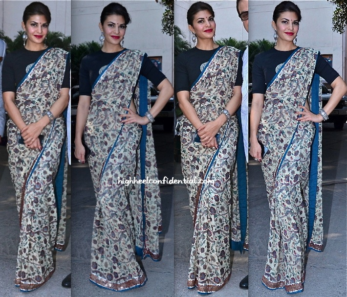 Jacqueline Fernandez In Anamika Khanna Saree At Sindhi Festival