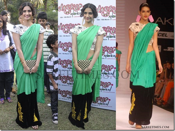 Bollywood Actress Sonam Kapoor in Green Masaba Gupta saree,