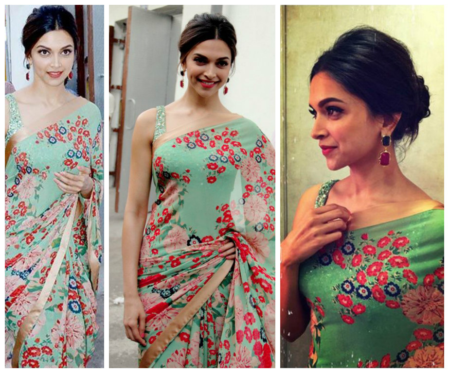 Deepika padukone in floral print saree with brocade shimmer blouse