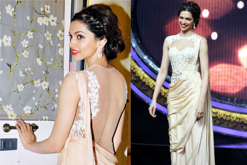 Deepika Padukone in peach colour saree designed by Payal Singhal