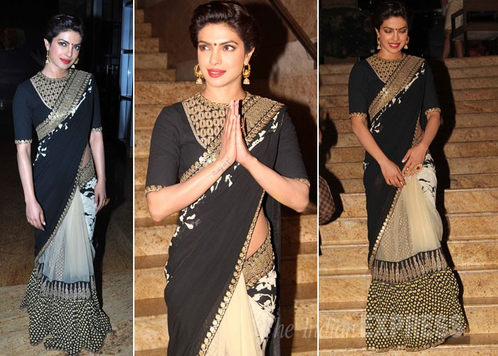 Priyanka Chopra in Sabyasachi Saree at Dilip Kumar Autobiography Launch