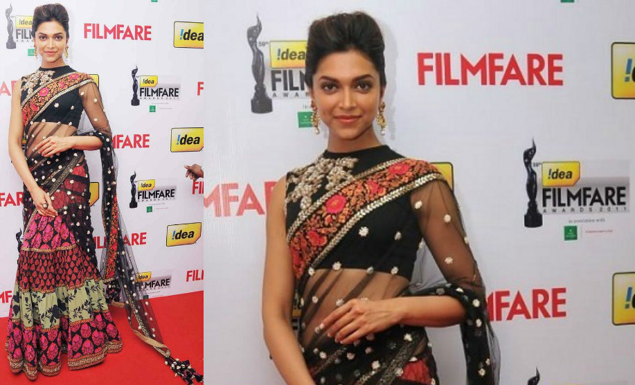 Deepika Padukone in half saree Ghagra on Red carpet 59th Filmfare awards 2011