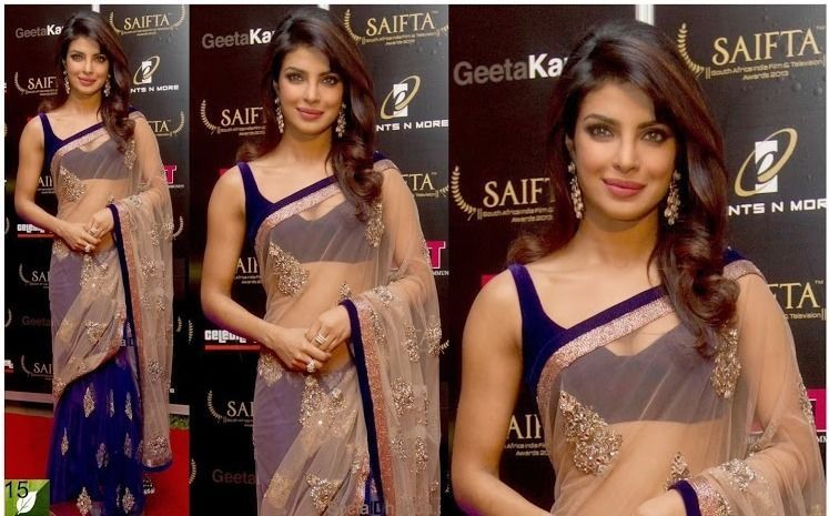 Priyanka Chopra in Blue Golden Net Saree At SAIFTA Awards 2013