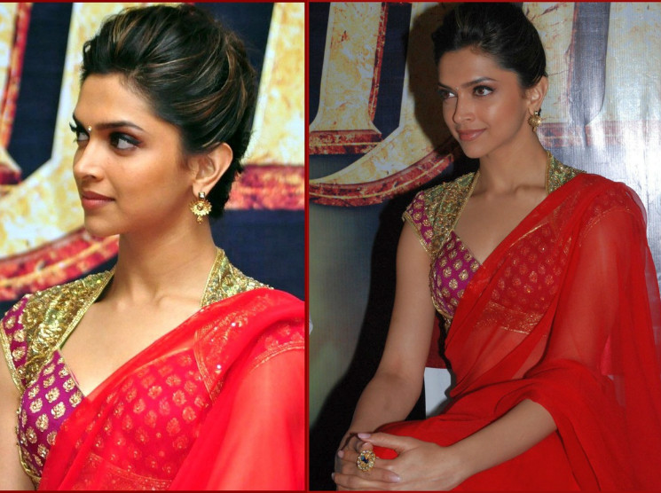 Deepika Padukone Red transparent saree
