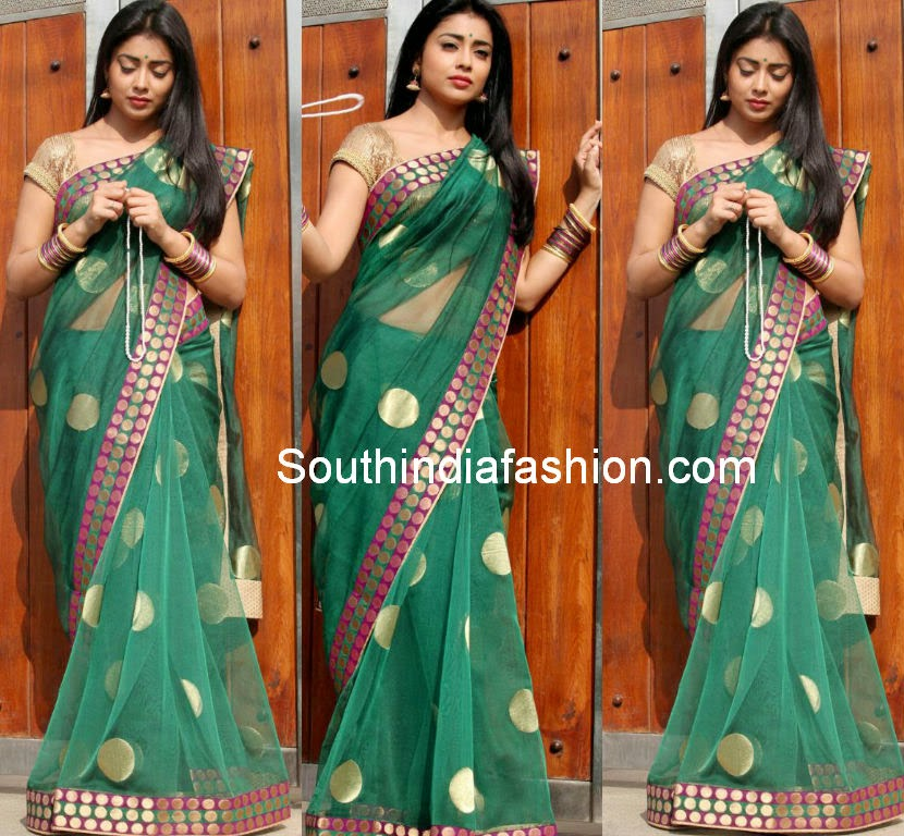 Shriya Saran in Green Polka Dots Saree