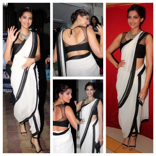 Sonam Kappor in White black dhoti style saree