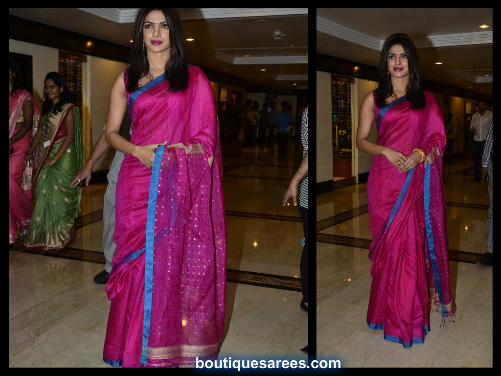 priyanka chopra in jute silk saree