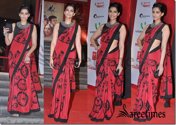 Sonam Kapoor in Kallol Datta Designer Red Saree