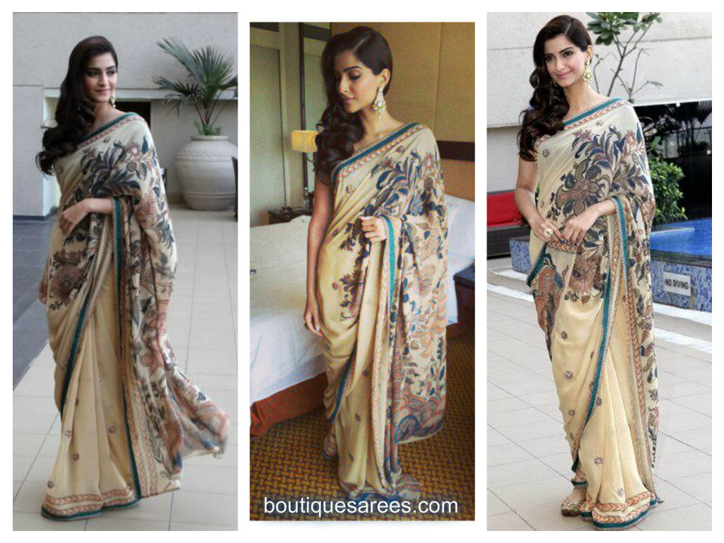 Sonam kapoor in Anuradha Vakil patch work saree
