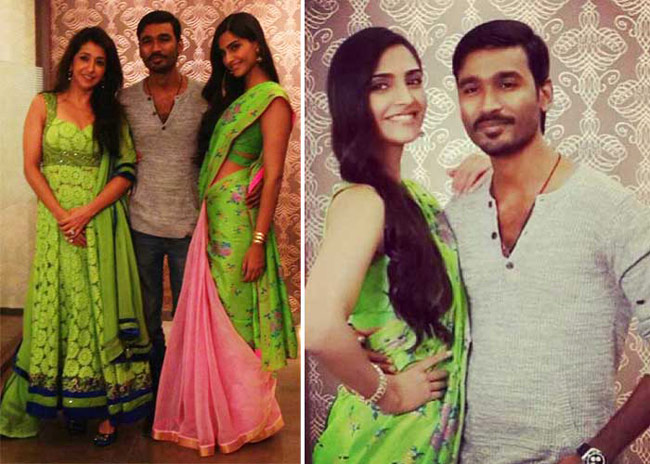 Sonam Kappor in Green And Pink Saree