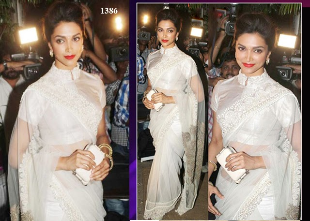 Bollywood Designer Deepika Padukone In White Net Saree At Sanjay Leela Bhansali Birthday Bash - 1386