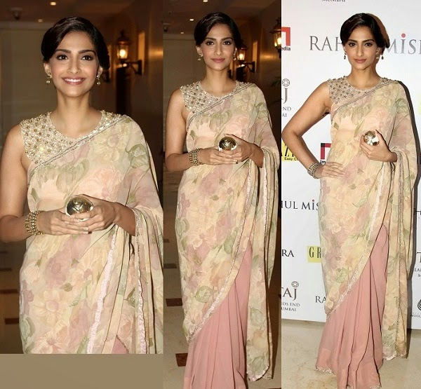 Bollywood actress sonam kapoor in beautiful peach color half and half saree designed by shehlaa