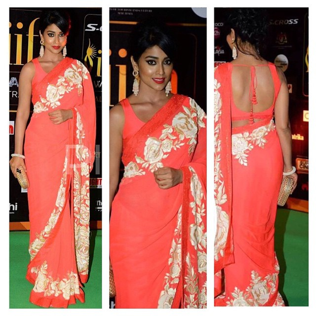 Shriya Saran in Pink Manish Malhotra Saree at IIFA 2015