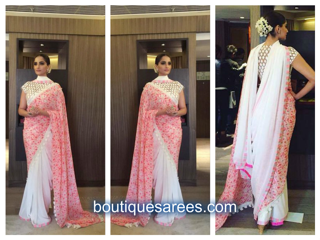 sonam kapoor in pink and white half and half saree