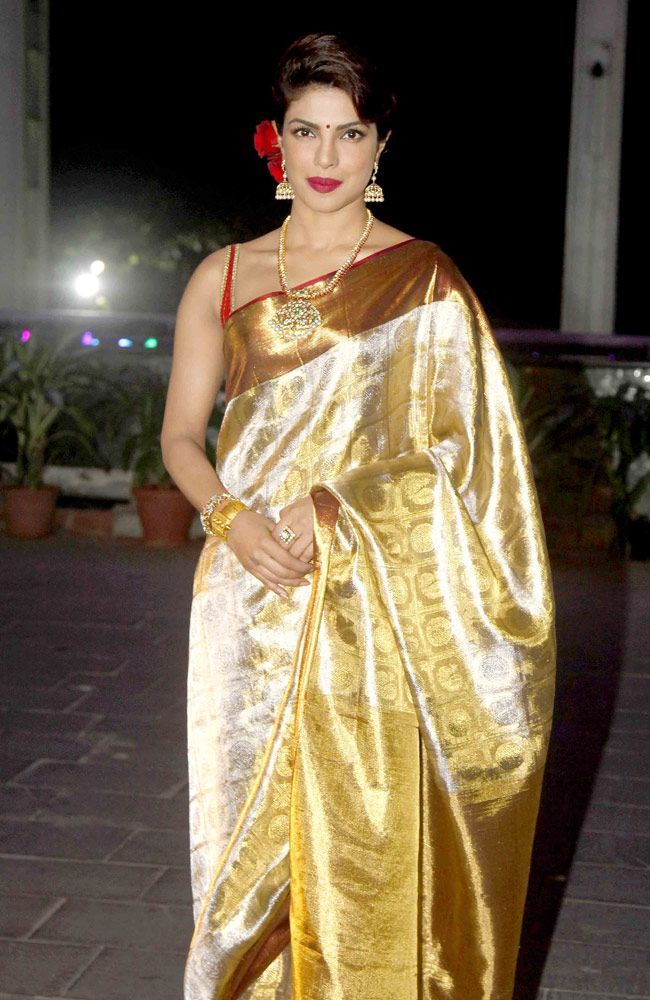 Priyanka Chopra in Golden Saree at Shirin Morani and Udhay Singh Wedding Reception