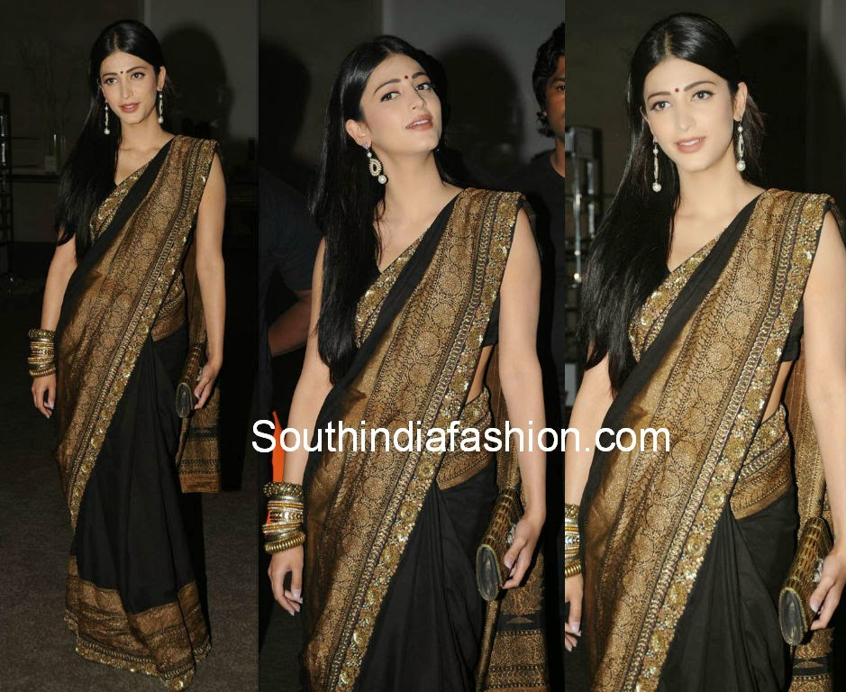 Shruti hasan black designer saree