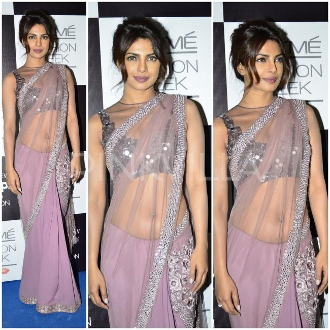 Priyanka Chopra in Manish Malhotra Saree at Lakme fashion week 2014