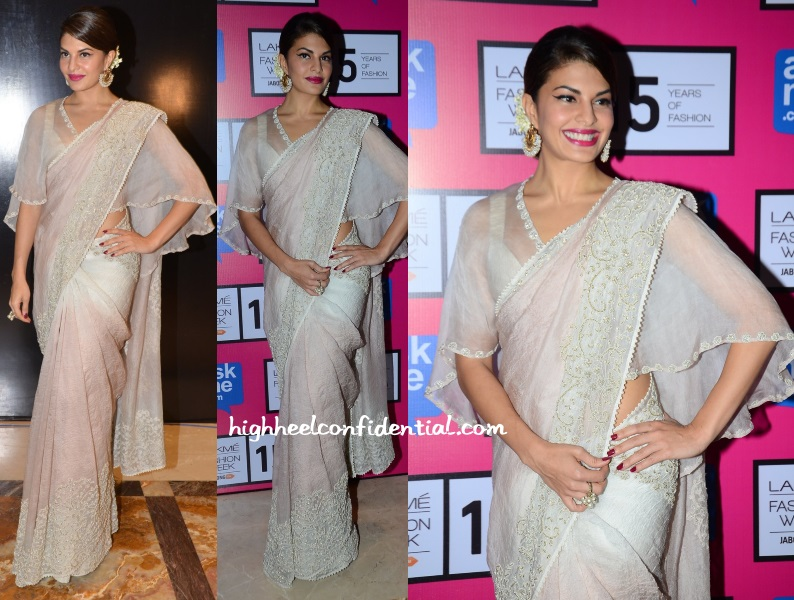 Jacqueline Fernandes in Anamika Khanna Silver Saree