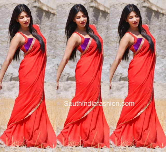 Shruti Hassan in Plain Red Saree