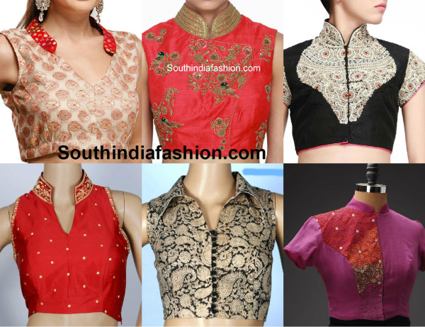 Blouse Designs Stand Collar : Collar neck blouse latest high sarees