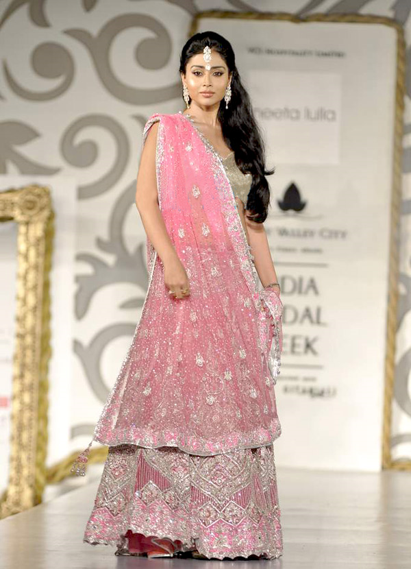 Shriya saran in Bridal Pink Sarees